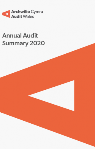 Wrexham County Borough Council – Annual Audit Summary 2020: report cover showing Audit Wales logo